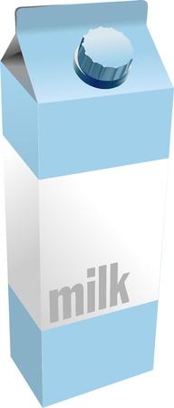 carton box: Dairy produces collection in carton box. Milk. Vector