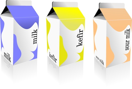 three objects: Dairy produces collection in carton box. Milk, kefir, sour milk. Vector Illustration