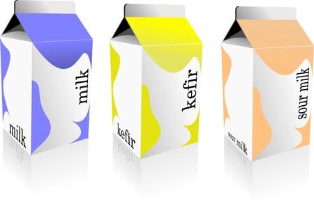 carton de leche: Lechera produce colección en caja de cartón. La leche, el kéfir, leche agria. Vector