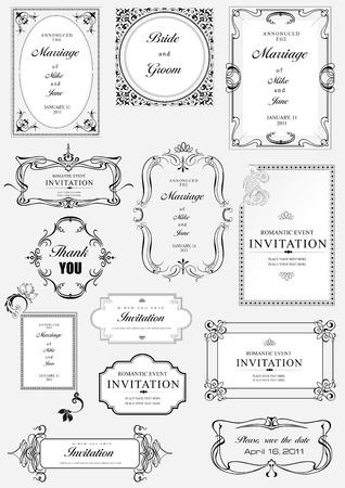 Set mit kunstvollen Rahmen und Ornamente Vektor mit Beispieltext. Ideal als Einladung oder Mitteilung. Alle Stücke sind getrennt. Leicht zu Farben und Bearbeiten ändern.