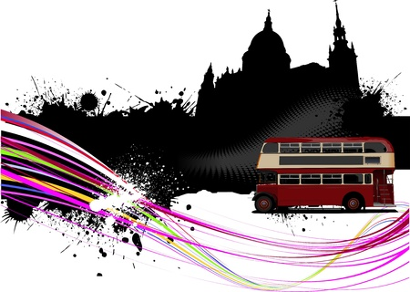 rarity: Grunge London images with buses image. Vector illustration