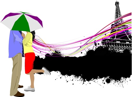 Kissing couple with umbrella on the Paris Eiffel tower background. Vector illustration Vector
