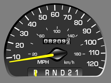 accelerate: Vector illustration of a speedometer. Odometer