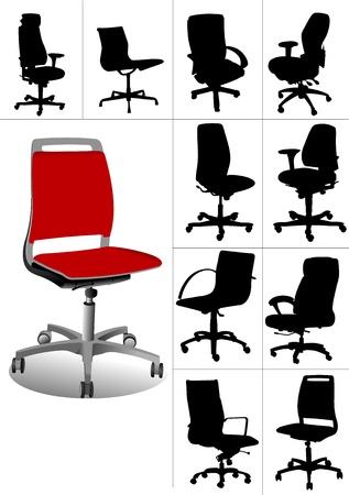 Große Reihe Abbildungen von Bürostühlen isoliert auf weißem Hintergrund. Vektoren