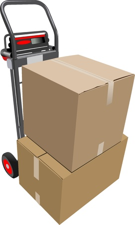 storage warehouse: Boxes on hand pallet truck. Vector illustration