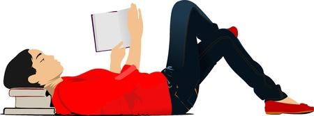 Joven mujer hermosa en el libro de lectura rojo tirado en el suelo. Ilustración vectorial Ilustración de vector