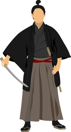 japanese kimono: Samurai with the  sword. Vector illustration