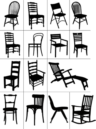 classic furniture: Big set of home chair silhouettes. Vector illustration