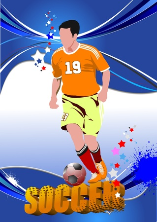 Poster Soccer football player. Colored Vector illustration for designers Stock Vector - 11093307