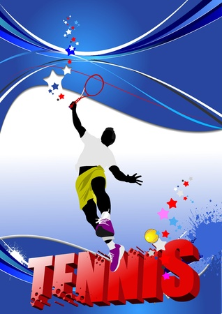 tennis serve: Tennis player poster. Colored Vector illustration for designers