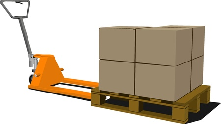warehouse interior: Boxes on hand pallet truck. Forklift. Vector illustration