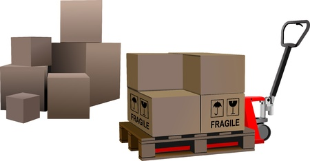 warehouse equipment: Industrial forklift with a load of the boxes