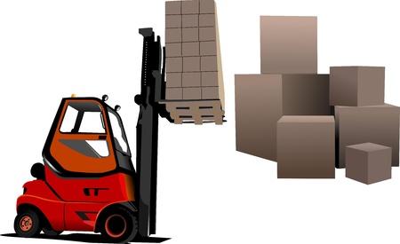 semi: Lift truck. Forklift. Vector illustration