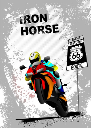 motorbike jumping: Grunge gray background with motorcycle image. Iron horse. Vector illustration