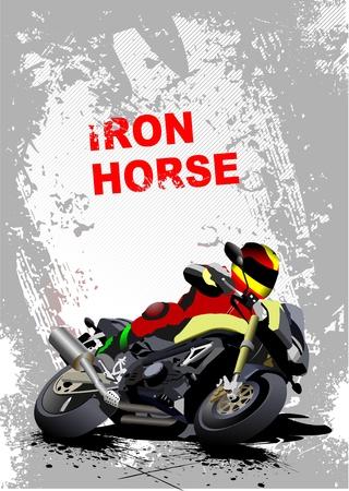 moto: Grunge gray background with motorcycle image. Iron horse. Vector illustration