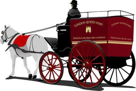 London bericht paard cabine met chauffeur op wit wordt geïsoleerd