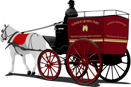 horse drawn carriage: London post horse cab with driver isolated on white Illustration