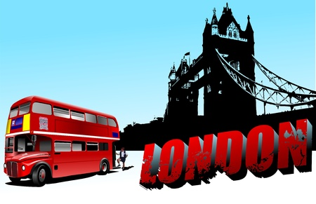 abstract london: 3D word London on Tower bridge and double-decker bus images. Vector illustration