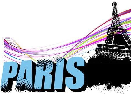 3D word Paris on the Eiffel tower grunge background. Vector illustration Vector