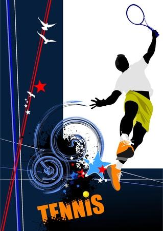 Tennis-Spieler. Farbige Vector illustration für Designer