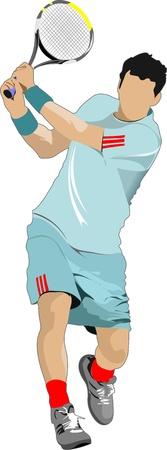 tennis racquet: Tenis cartel jugador. Ilustraci�n del vector de color para los dise�adores
