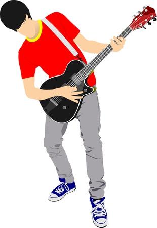 Gitarist geïsoleerd op de witte achtergrond. Vector illustratie