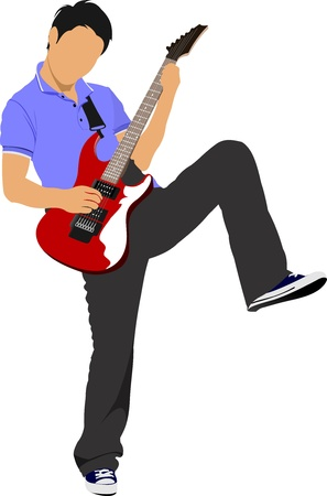 Guitar player isolated on the white background. Vector illustration