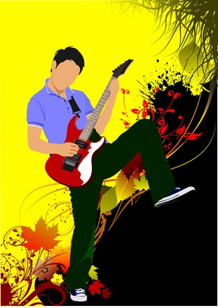 guitarists: Guitar player on the autumn background. Vector illustration