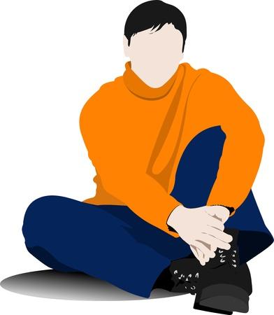 vieil homme assis: Assis sur le sol l'homme jeune. Vector illustration Illustration