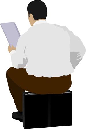 vieil homme assis: Homme d'affaires assis en lisant un journal Illustration