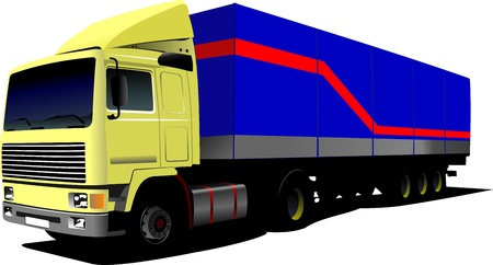 diesel engine: Vector illustration of yellow truck. Lorry with cargo container.  Illustration