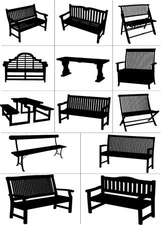 Big set of garden benches. Vector illustration