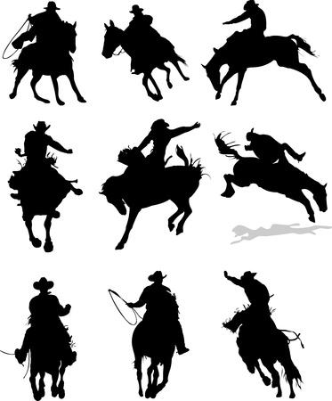 Siluetas de caballo de rodeo. Ilustración vectorial Ilustración de vector
