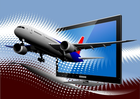 Blue dotted background with Flat computer monitor with passenger airplane image . Display. Vector illustration Vector