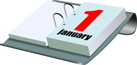 calendario da tavolo: Illustrazione vettoriale di calendario da tavolo. 1 gennaio Vettoriali