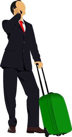 Business-Mann mit Koffer. Vektor-Illustration