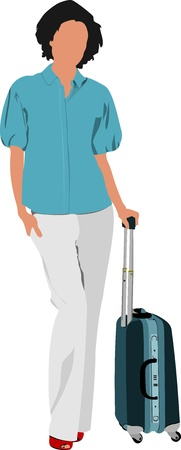 airport people: Business woman with suitcase. Vector illustration Illustration