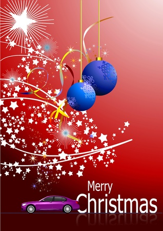 Dark-red abstract Christmas background with white snowflakes and gift image. Vector illustration Vector