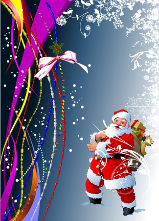 Blue abstract Christmas background with white snowflakes and Santa image. Vector illustration Vector