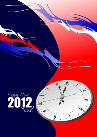 New year night with a clock Vector