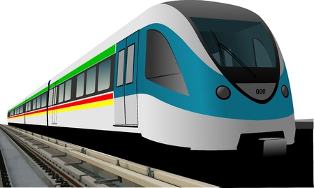 suburban: Blue modern speed bullet train vector. Fast suburban, subway, metro, commuter, hovercraft. Technology illustration. Illustration