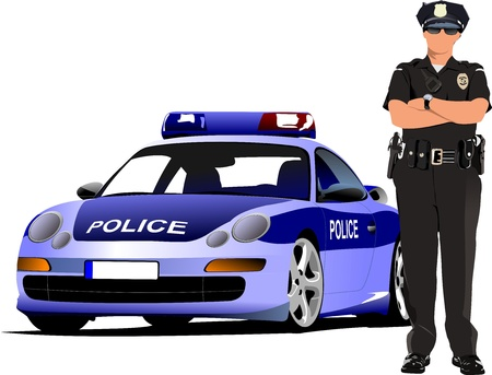 enforcement: Police woman standing near police car  isolated on white. Vector illustration