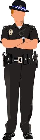 mujer policia: Mujer polic�a espera aislado en blanco. Ilustraci�n vectorial