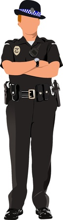poliziotta: Police Woman in attesa isolato su bianco. Vector illustration