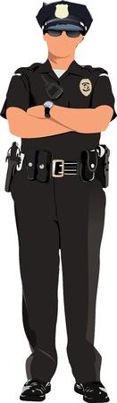 poliziotta: Donna della polizia in attesa isolato su bianco. Illustrazione vettoriale