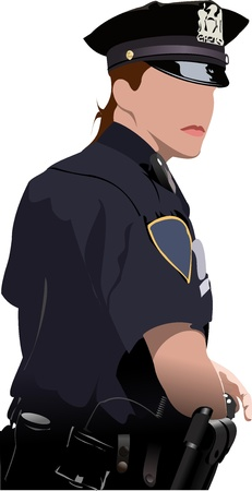 Police woman looking forward  isolated on white. Vector illustration Illustration