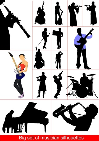 violin player: Big set of musicians silhouettes. Orcestra