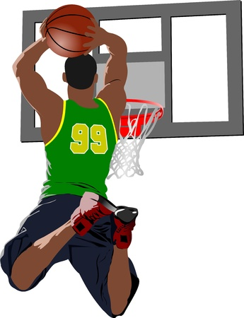 basketball shot: Basketball players. Colored illustration for designers