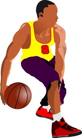 champions league: Basketball players. Colored  illustration for designers