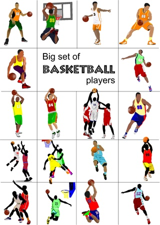 dribbling: Big set of Basketball players.  illustration Illustration